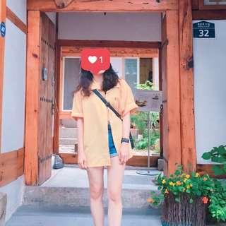 🚚 韓國🇰🇷紅標黃襯衫