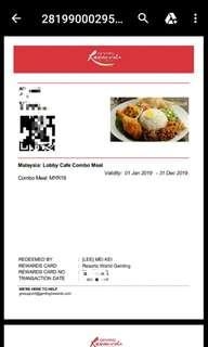 First world genting lobby cafe food voucher