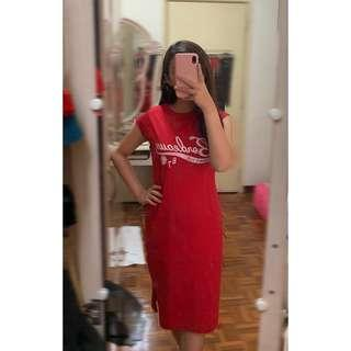COTTON ON RED LOOSE BODYCON LONG DRESS