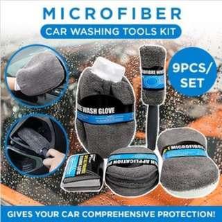 ASMILE 9ps/set Of Car Wash Cleaning Brush Microfiber Car Detailing Washing Tools Kit