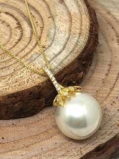 13-14mm Edison Pearl Pendant in Silver 925 (yellow gold plated)