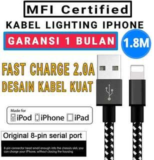 MFI CERTIFIED kabel data charger lighting iphone 180cm