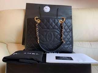 Chanel grand shopping tote bag gst black ghw