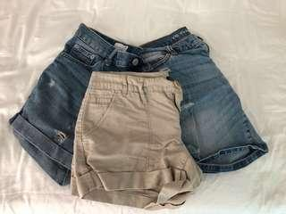 🚚 GAP & VICTORIA'S SECRET boyfriend style jean shorts/linen shorts