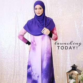 Hijriahome Qawsar Marble Jubah (Pink+Purple Galaxy)