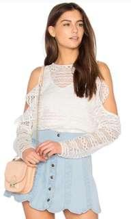 🚚 white crochet cold shoulder top