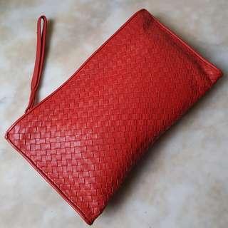 MARIELLA Woven Leather Clutch In Red (Bottega Veneta Style)