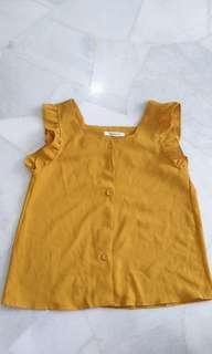 🚚 Clearance Chiffon Mustard Blouse (Free Mailing)