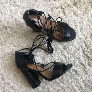 Public Desire All Black Strappy Heels