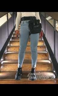 🚚 歐美高腰顯瘦淡刷色牛仔褲