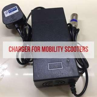 Charger for mobility scooter or electric wheelchair