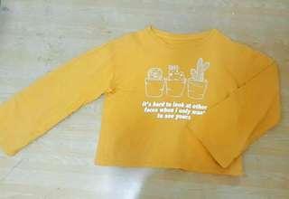 短版寬袖芥黃撩妹衫