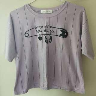 紫色 短版 上衣
