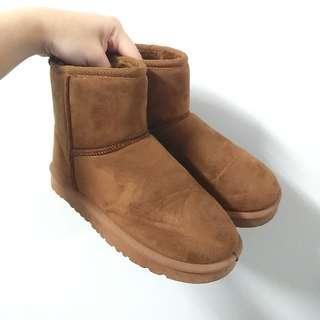🚚 二手咖啡色內刷毛雪靴38