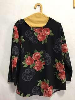 Flowery Black Blouse