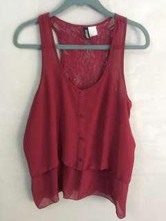H&M maroon lacey sleeveless