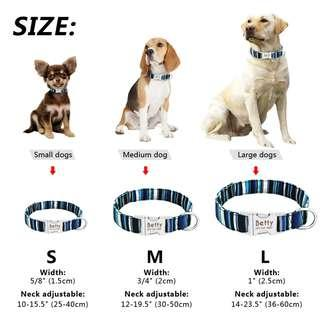 Personalized Engraved Pet Dog Adjustable Nylon Collar Name Number Tag