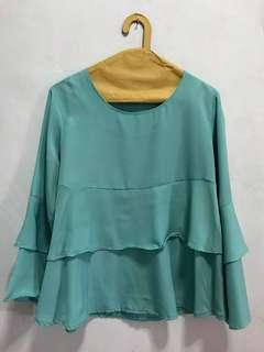 Mint Ruffle Blouse