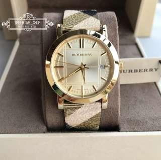 🚚 BU1398 BURBERRY 經典立體格紋錶盤 真皮革格紋錶帶 石英 男女 手錶 38mm