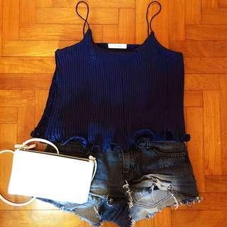 🚚 BN Shimmering Navy Blue Spag Top