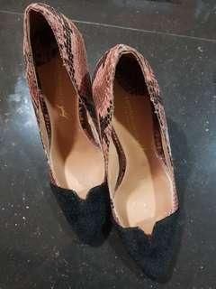 Christian Siriano pink snakeskin gold collection heels