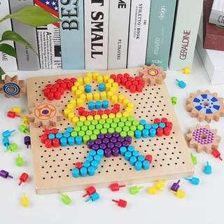 Wooden Buttons and Gears (Manipulative and Lacing Toys)