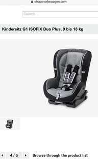 🚚 Volkswagen G1 child/baby car seat (Isofix) 9-18kg