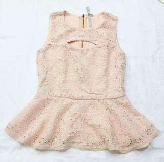 MONA B peplum pink top