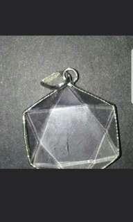 Star of david clear quart silver pendant