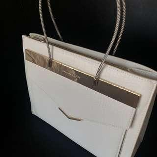 Charles & Keith Top handle white and gold bag