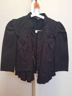 🚚 Preloved Black Cropped 3/4 Sleeve Jacket