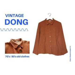 🚚 | 咚 咚 Vintage |法式古著-燃橙之星厚長袖上衣