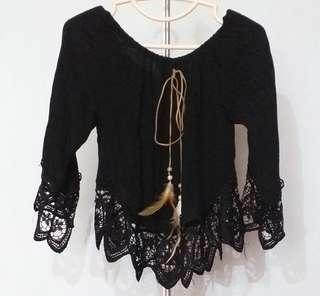 feather n lace off shoulder