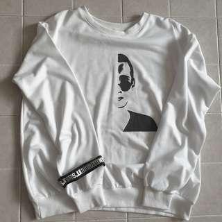 white graphic oversize pullover