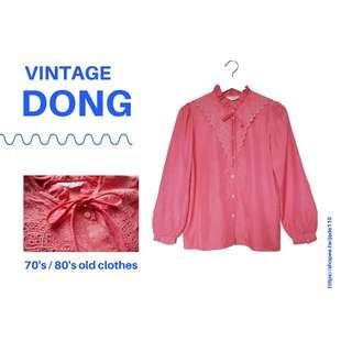 🚚 | 咚 咚 Vintage |日本古著-第3朵玫瑰粉長袖上衣