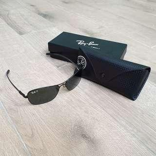 Ray Ban RB 8302 58mm Carbon Fiber Aviator Crystals frame metal silver 3P Polarized