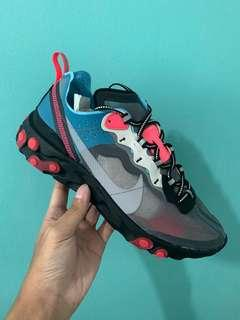 🚚 nike react element blue chill solar red us8.5