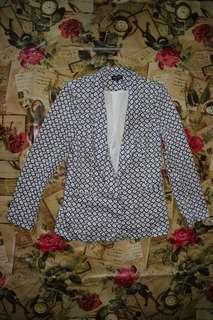 Blue White Printed Single Breasted Blazer/Coat/Jacket