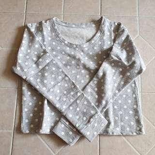 grey polka dot pullover