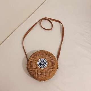 Round Rattan Porcelain Detailing Crossbody Circle Bag