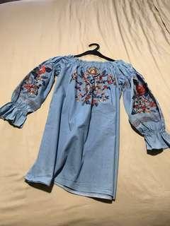 Soeurs embroidered denim dress tunic off shoulders