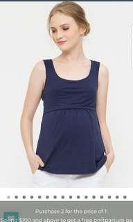 Bove by Spring Maternity M size nursing top in navy