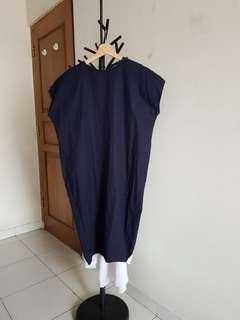 Blue White Two Tone Midi Dress