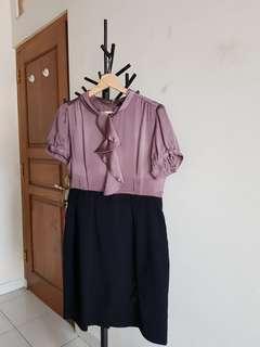 Dress Ngantor - Satin Purple Black