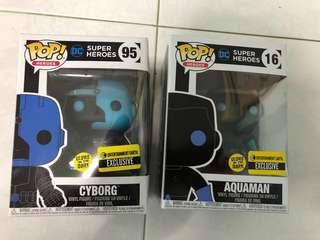 Funko entertainment earth ee exclusive glows in the dark aquaman cyborg dc super hero funko pop