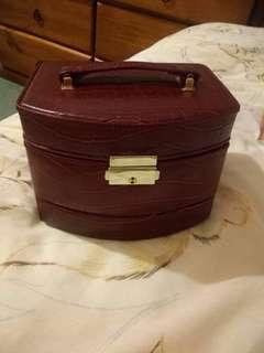 Red Leather Jewellery Case