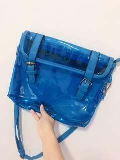 Tumblr transparent blue sling bag