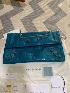 Balenciaga Envelope Clutch in Turquoise