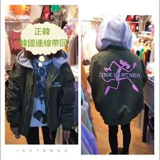 🚚 ★正韓 連帽飛行舖棉外套 軍綠色