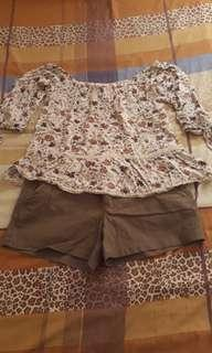 American eagle outfitters off the shoulder top with matching shorts